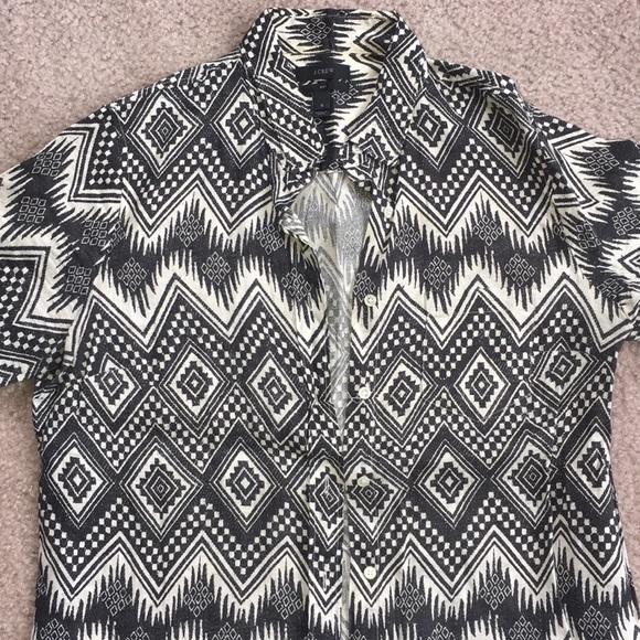 J. Crew Tops - JCREW - Black and white Aztec print shirt size 8